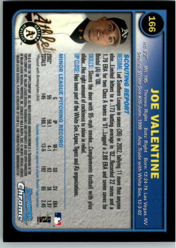2003 Bowman Chrome #166 Joe Valentine RC back image