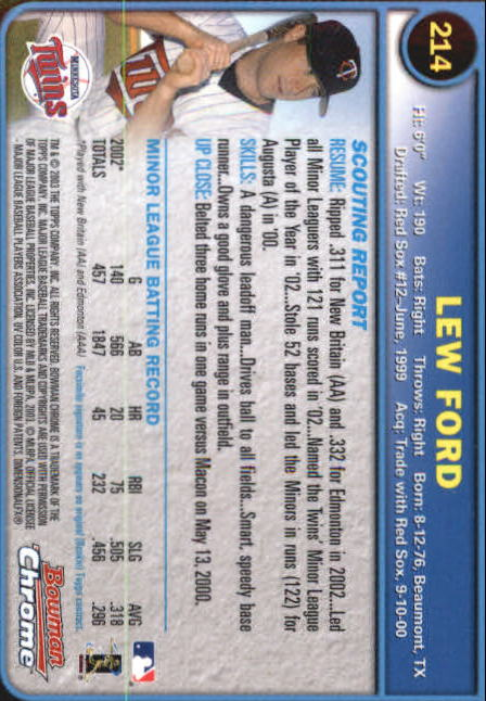 2003 Bowman Chrome #214 Lew Ford RC back image