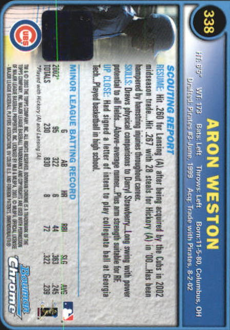 2003 Bowman Chrome #338 Aron Weston AU A RC back image