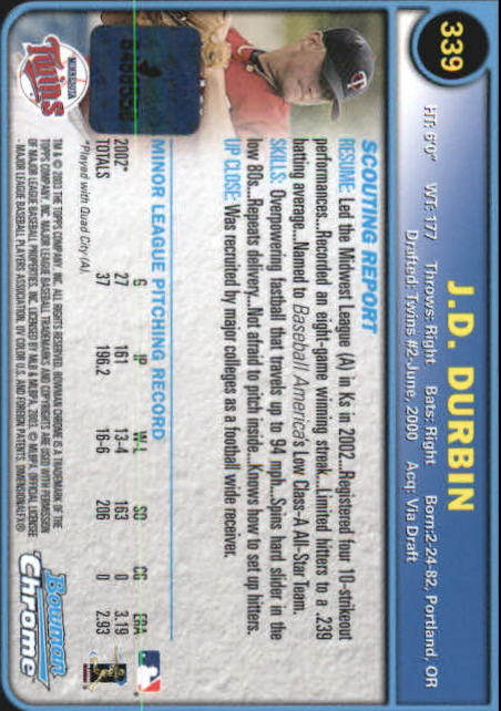 2003 Bowman Chrome #339 J.D. Durbin AU A RC back image