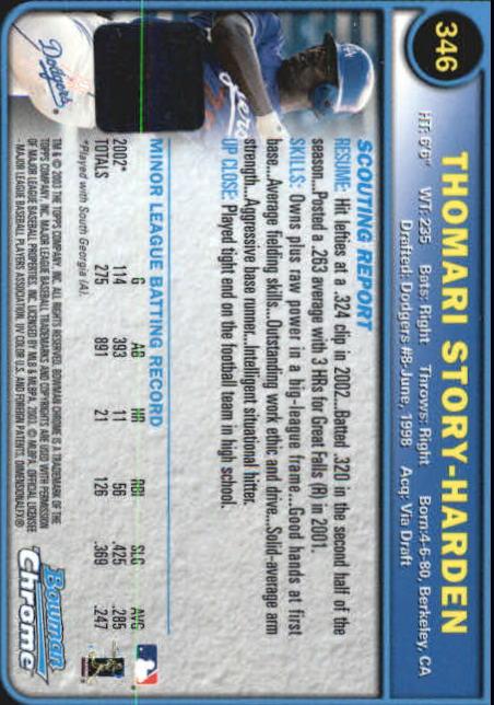 2003 Bowman Chrome #346 T.Story-Harden AU A RC back image