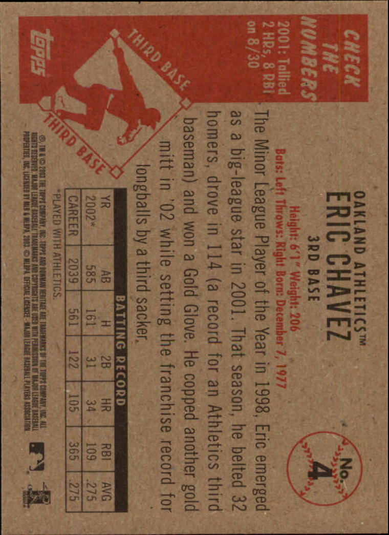 2003 Bowman Heritage #4 Eric Chavez back image