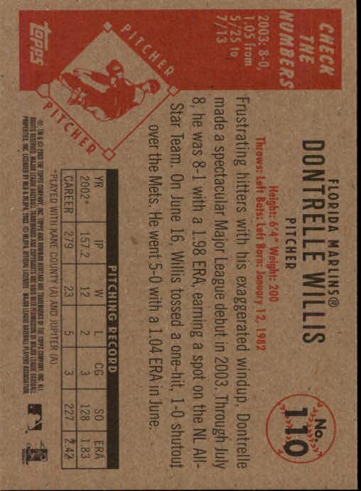 2003 Bowman Heritage #110 Dontrelle Willis back image