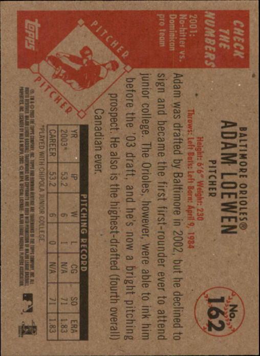 2003 Bowman Heritage #162 Adam Loewen DI RC back image