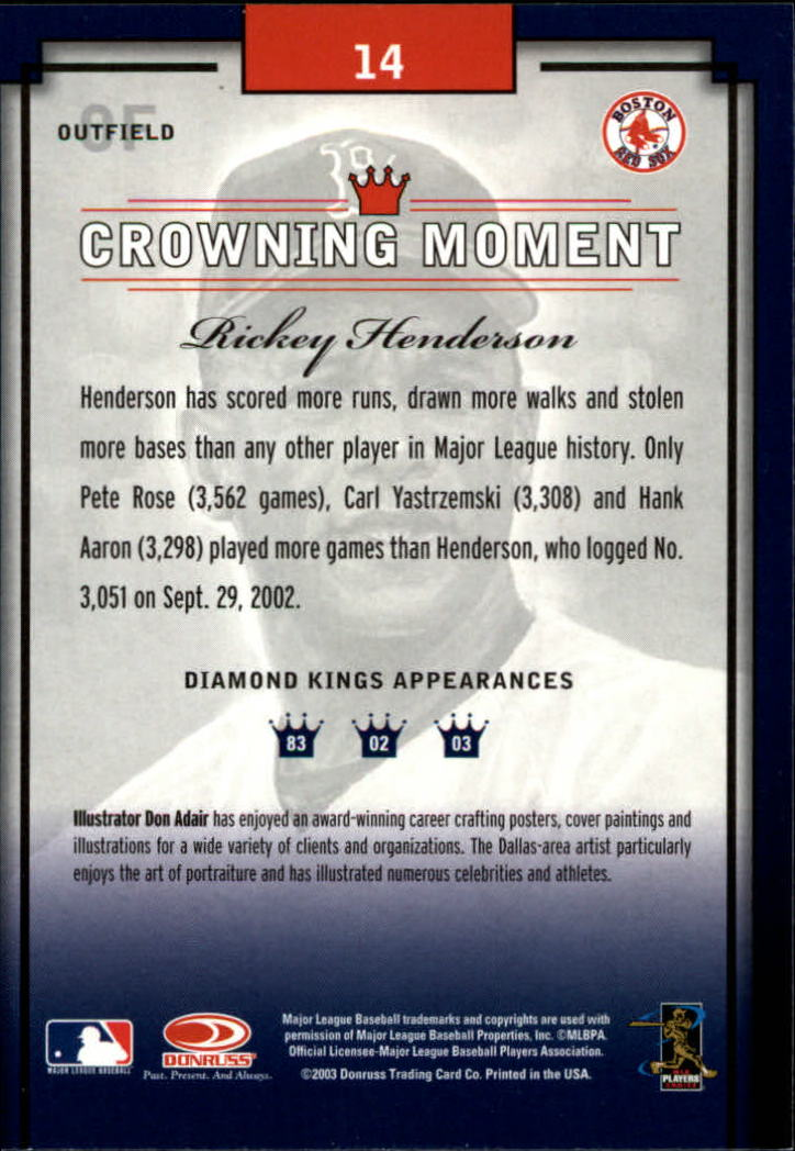 2003 Diamond Kings #14 Rickey Henderson back image
