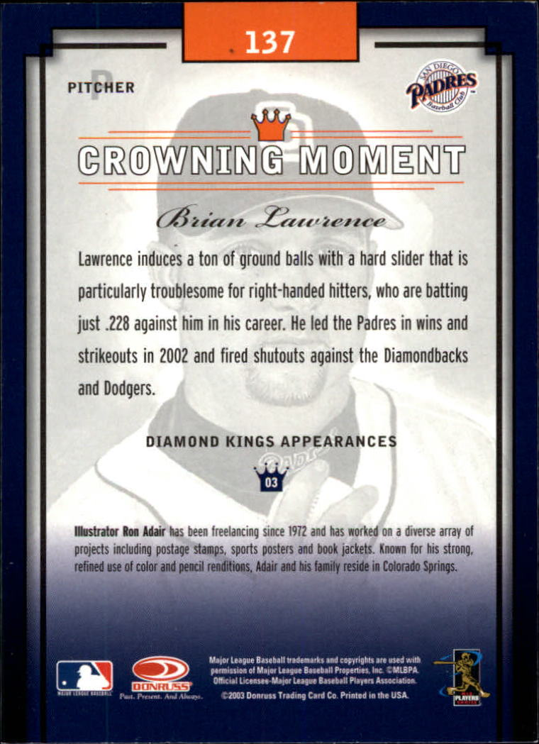 2003 Diamond Kings #137 Brian Lawrence back image