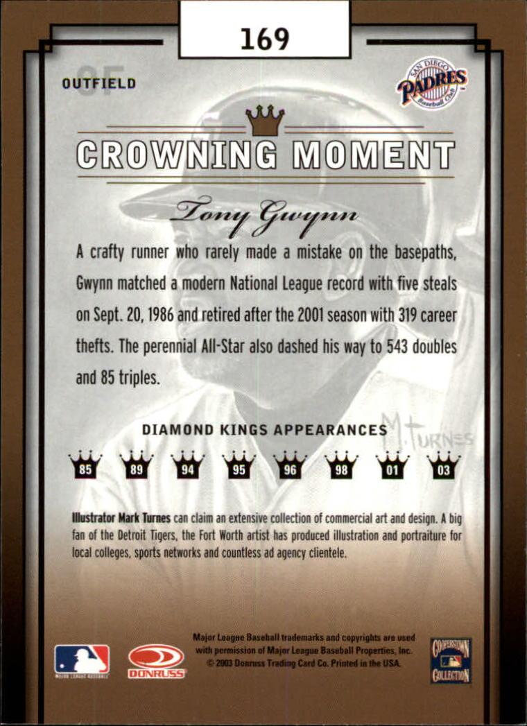 2003 Diamond Kings #169 Tony Gwynn RET back image