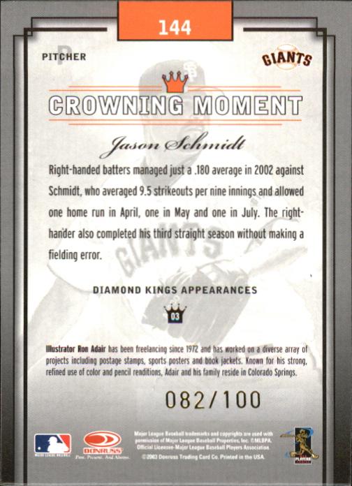 2003 Diamond Kings Gold Foil #144 Jason Schmidt back image