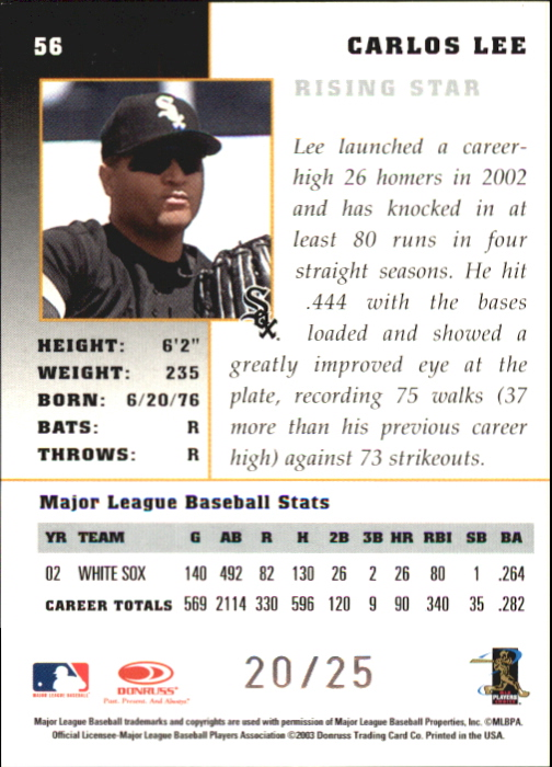 2003 Donruss Champions Autographs #56 Carlos Lee/25 back image