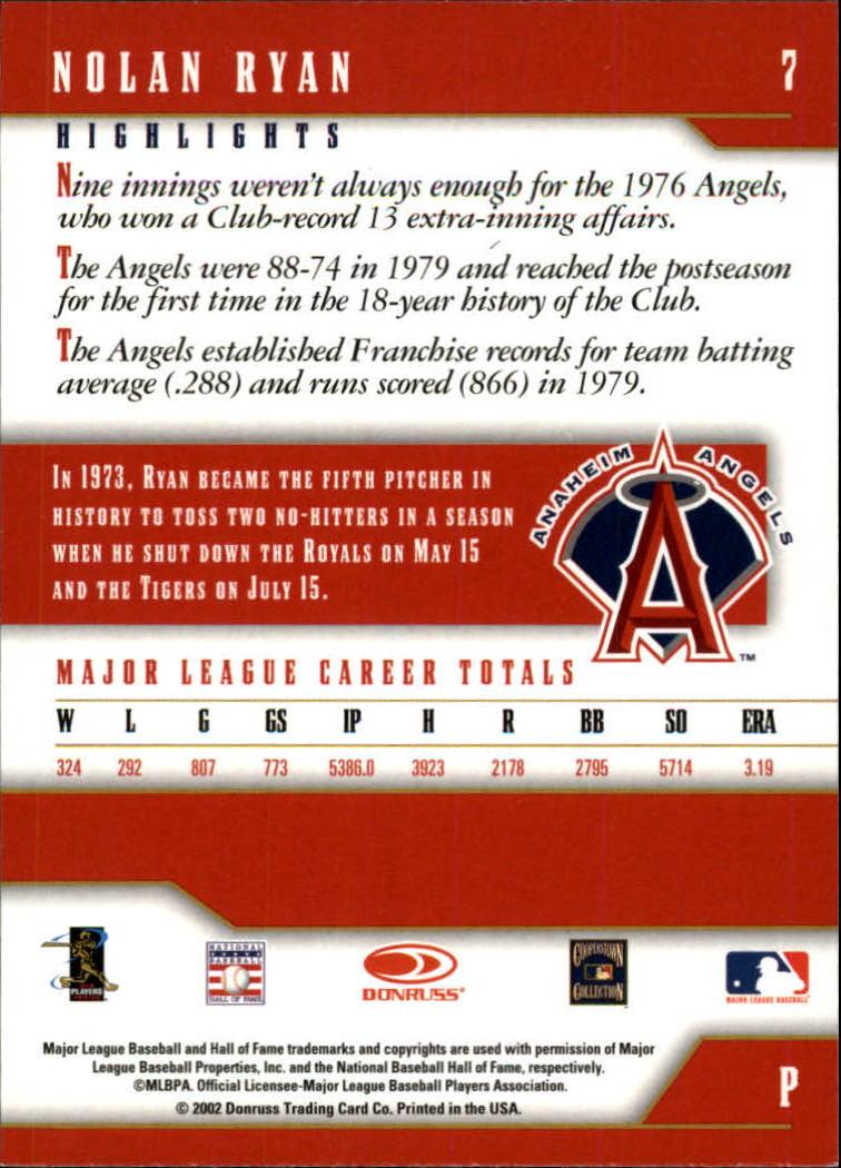 2003 Donruss Team Heroes Glossy #7 Nolan Ryan Angels back image