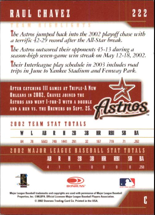 2003 Donruss Team Heroes Stat Line #222 Raul Chavez/1 back image