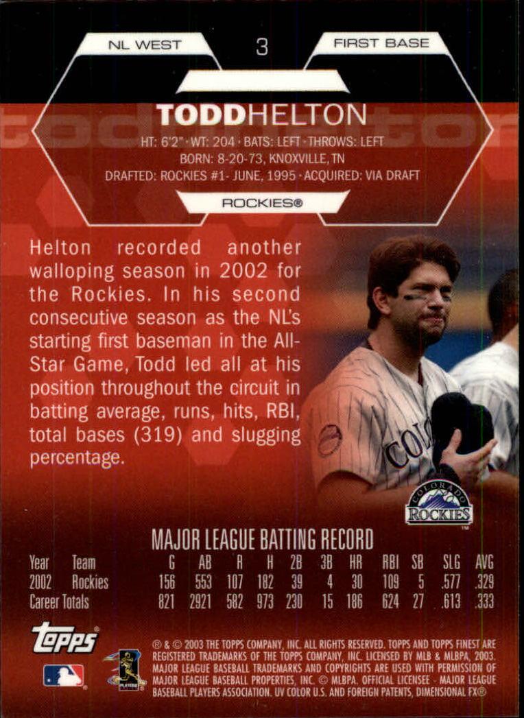 2003 Finest #3 Todd Helton back image