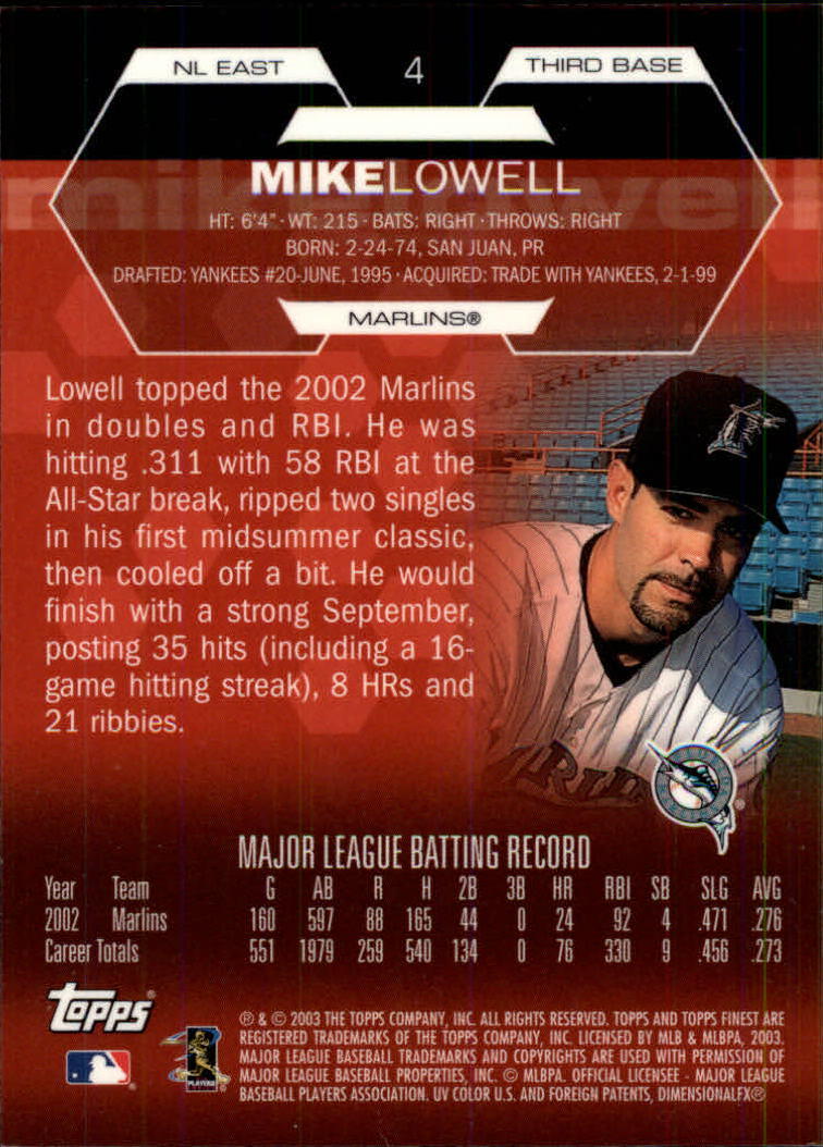 2003 Finest #4 Mike Lowell back image