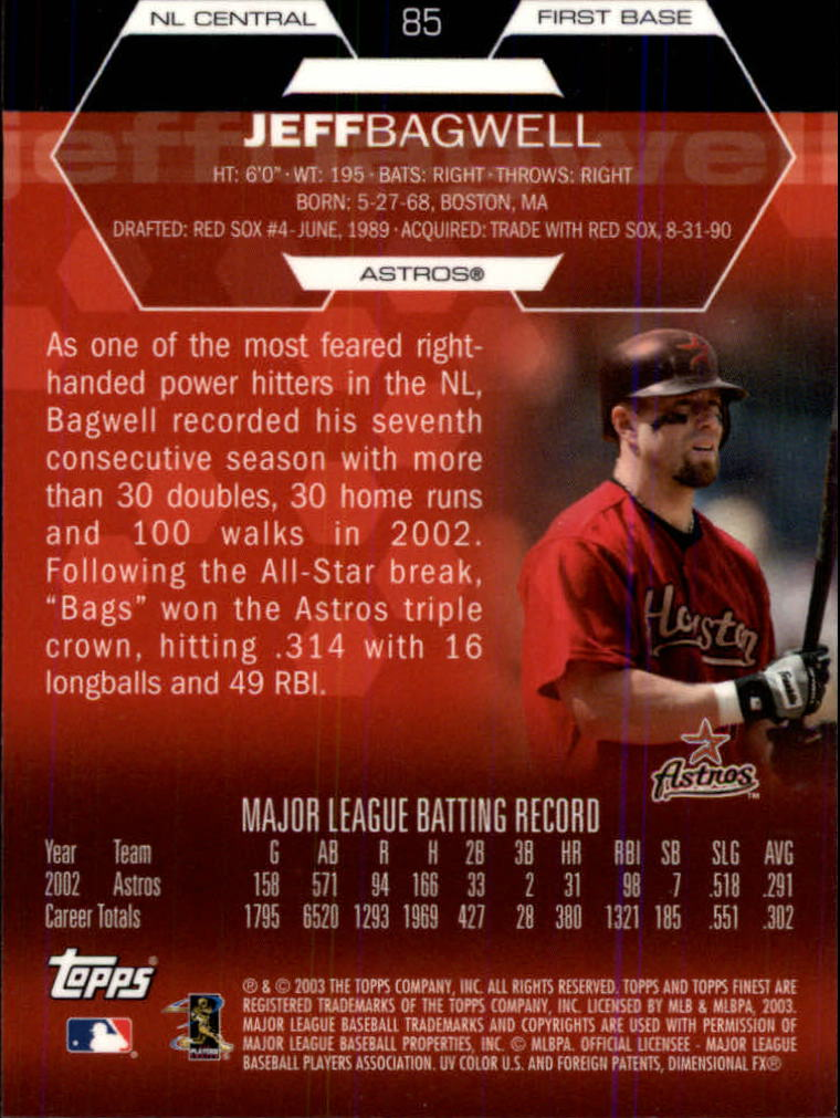 2003 Finest #85 Jeff Bagwell back image