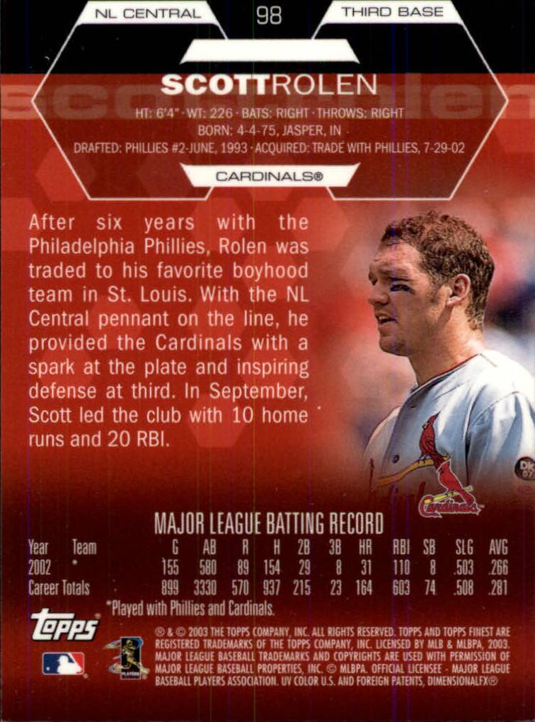 2003 Finest #98 Scott Rolen back image