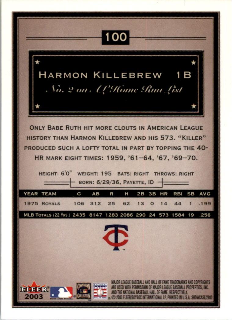 2003 Fleer Showcase #100 Harmon Killebrew back image
