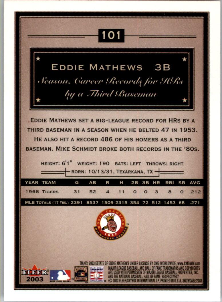 2003 Fleer Showcase #101 Eddie Mathews back image