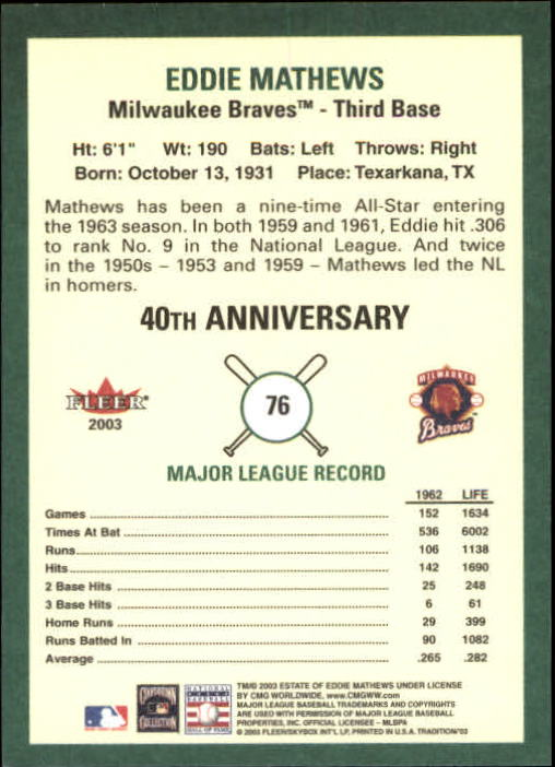 2003 Fleer Tradition #76 Eddie Mathews ML SP back image