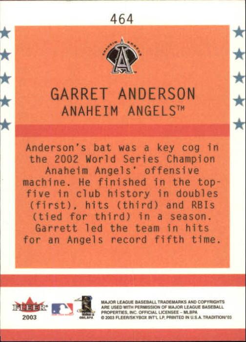 2003 Fleer Tradition #464 Garret Anderson BNR back image