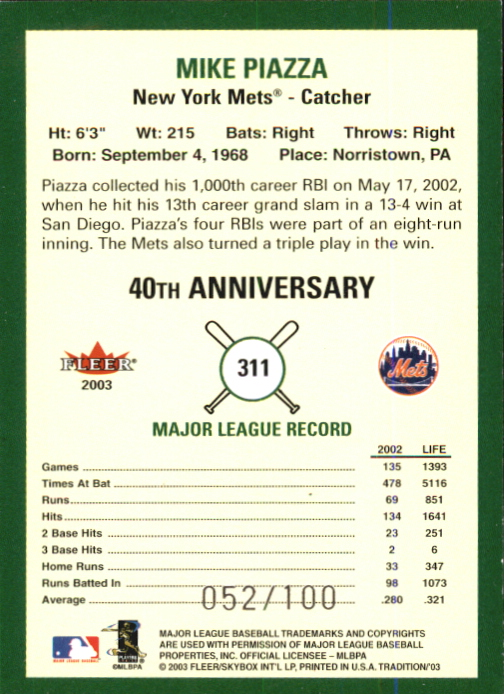 2003 Fleer Tradition Glossy #311 Mike Piazza back image
