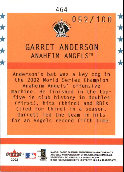 2003 Fleer Tradition Glossy #464 Garret Anderson BNR back image