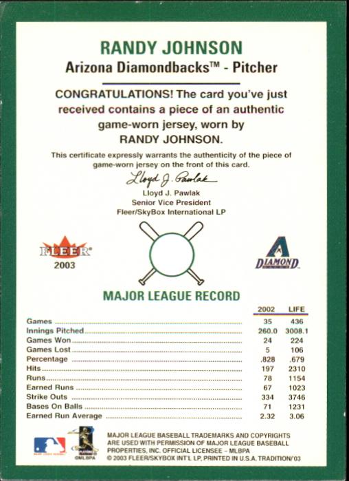 2003 Fleer Tradition Game Used #392 Randy Johnson Jsy SP/150 back image