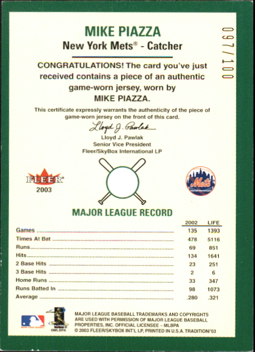 2003 Fleer Tradition Game Used Gold #311 Mike Piazza Jsy back image