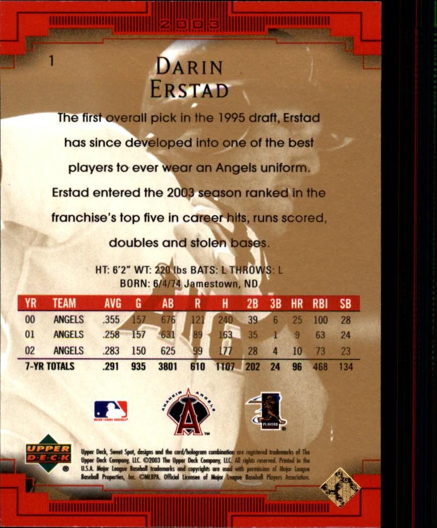 2003 Sweet Spot #1 Darin Erstad back image