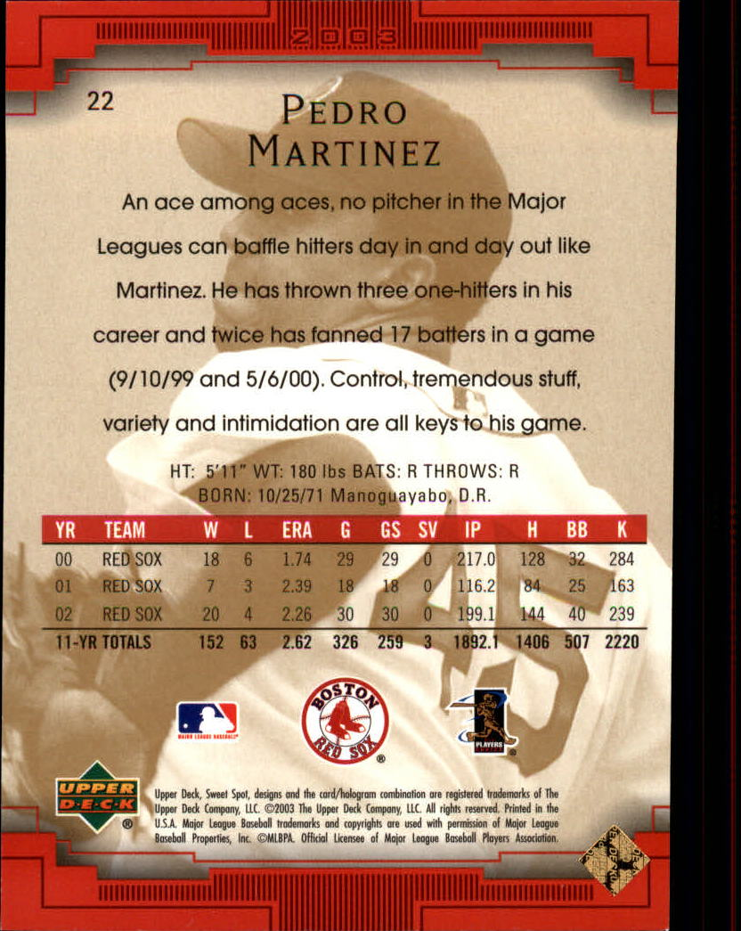 2003 Sweet Spot #22 Pedro Martinez SP back image