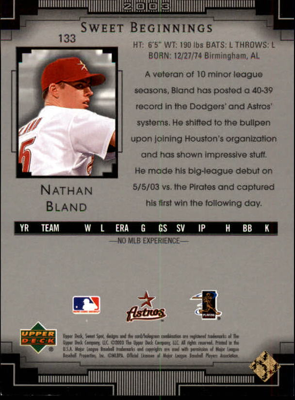 2003 Sweet Spot #133 Nathan Bland SB RC back image