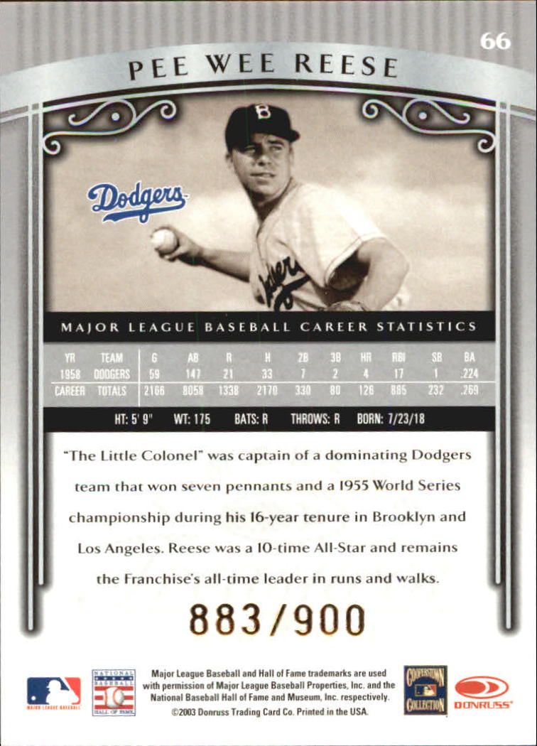 2003 Timeless Treasures #66 Pee Wee Reese back image