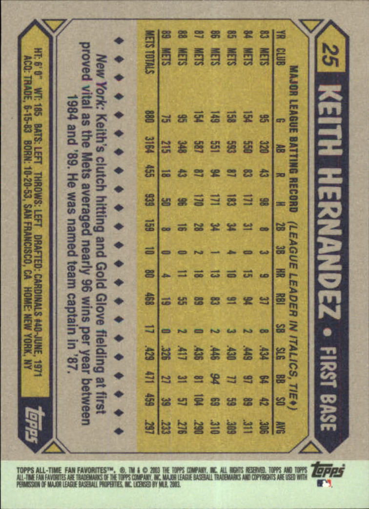 2003 Topps All-Time Fan Favorites #25 Keith Hernandez back image