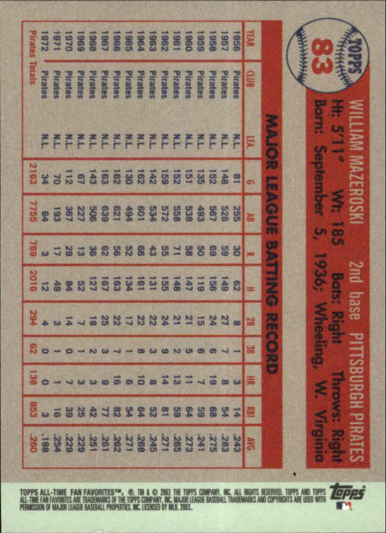 2003 Topps All-Time Fan Favorites #83 Bill Mazeroski back image