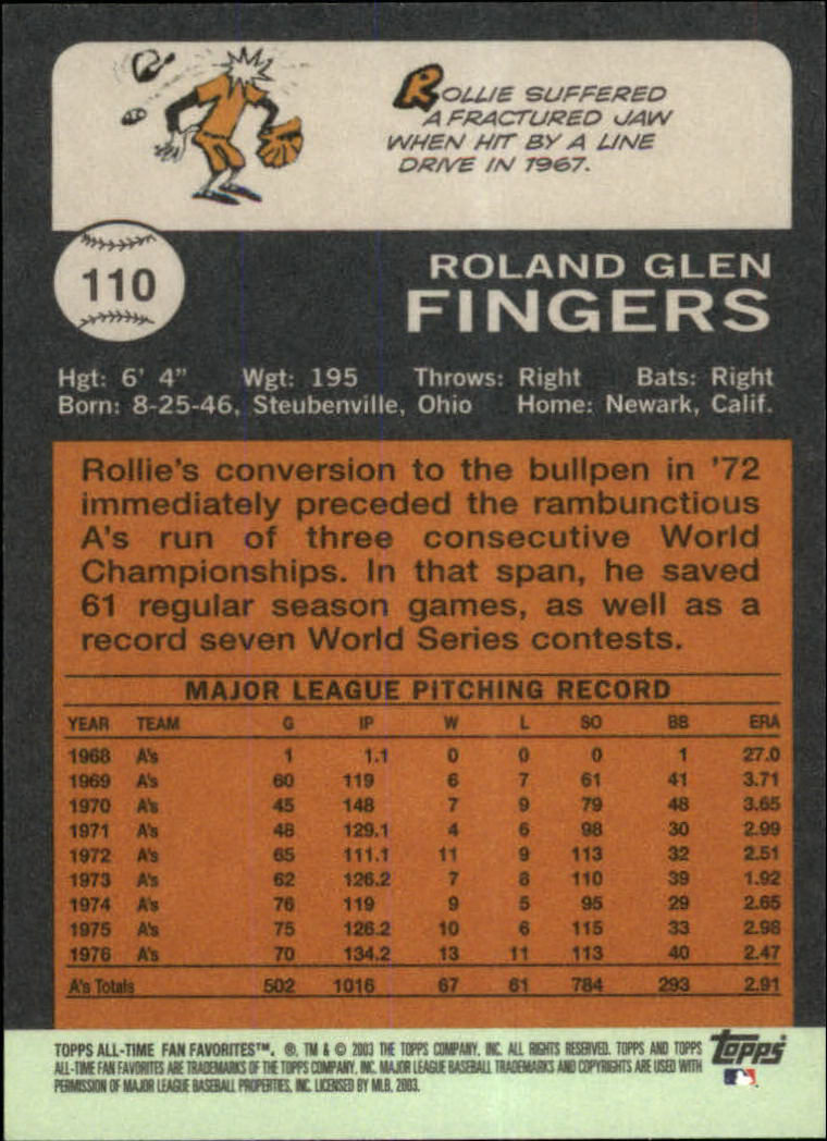 2003 Topps All-Time Fan Favorites #110 Rollie Fingers back image