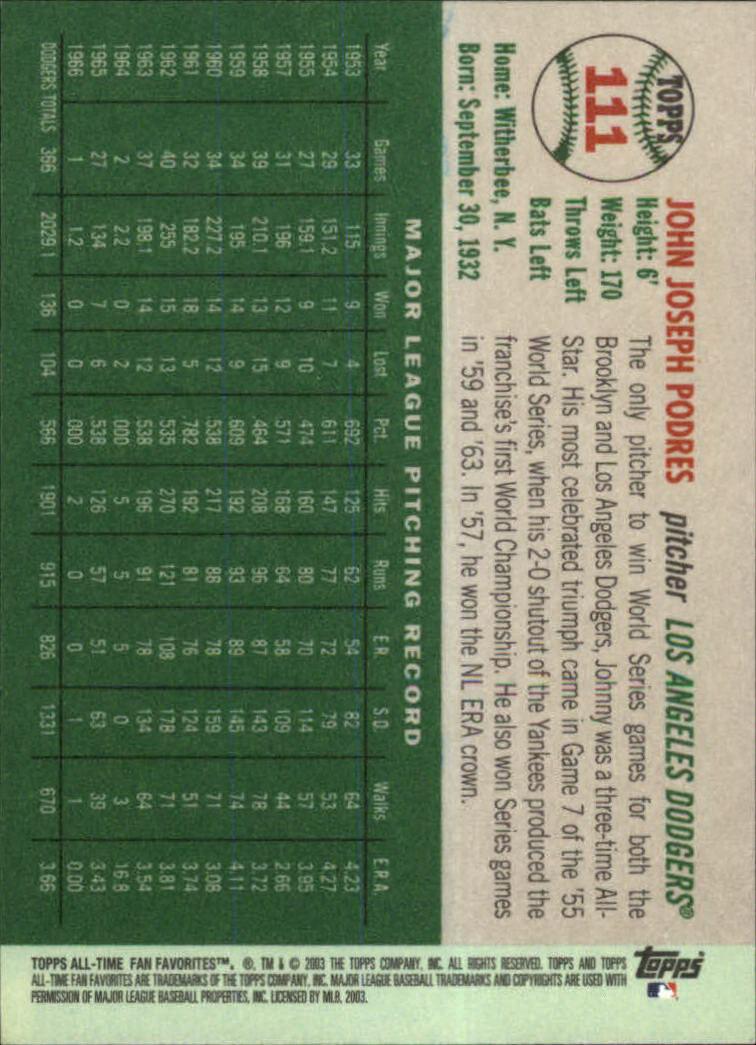 2003 Topps All-Time Fan Favorites #111 Johnny Podres back image