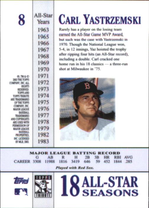 2003 Topps Tribute Perennial All-Star #8 Carl Yastrzemski back image