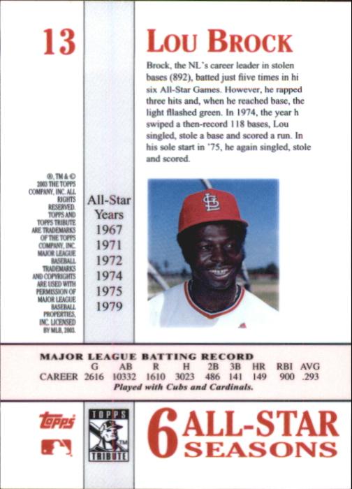 2003 Topps Tribute Perennial All-Star #13 Lou Brock back image