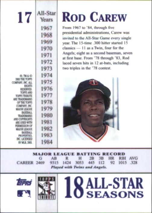 2003 Topps Tribute Perennial All-Star #17 Rod Carew back image