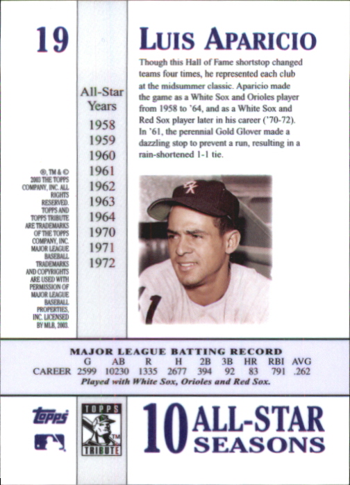 2003 Topps Tribute Perennial All-Star #19 Luis Aparicio back image