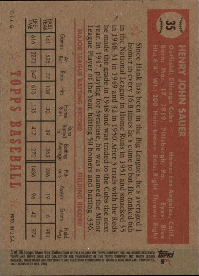 2003 Topps Shoebox #5 Hank Sauer back image
