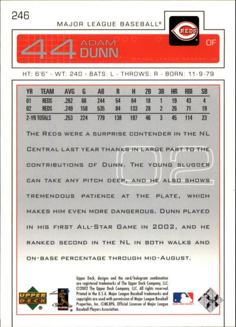 2003 Upper Deck #246 Adam Dunn back image