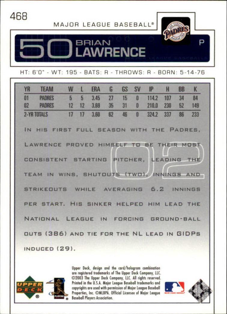 2003 Upper Deck #468 Brian Lawrence back image