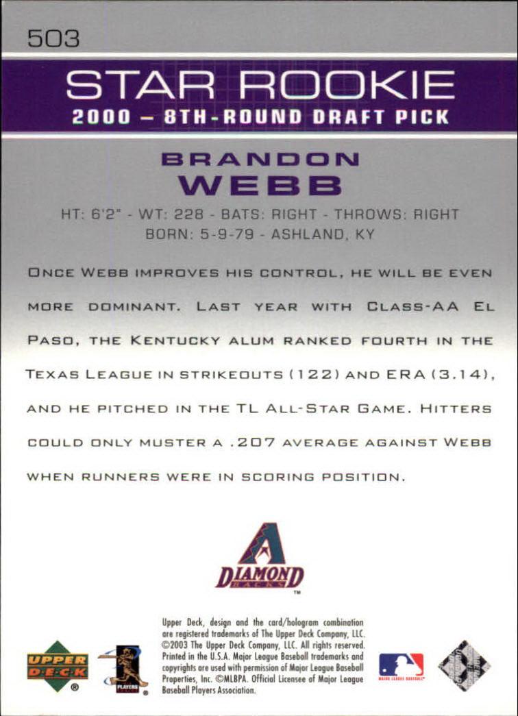 2003 Upper Deck #503 Brandon Webb SR RC back image