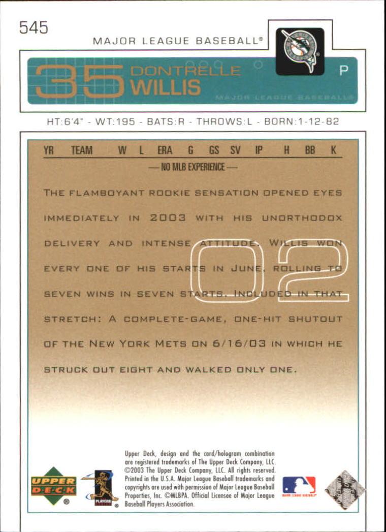 2003 Upper Deck Gold #545 Dontrelle Willis back image