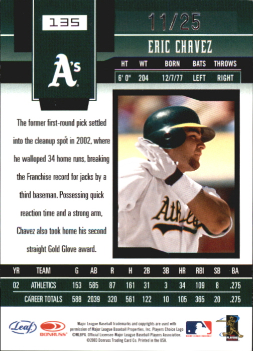2003 Leaf Certified Materials Mirror Gold #135 Eric Chavez back image
