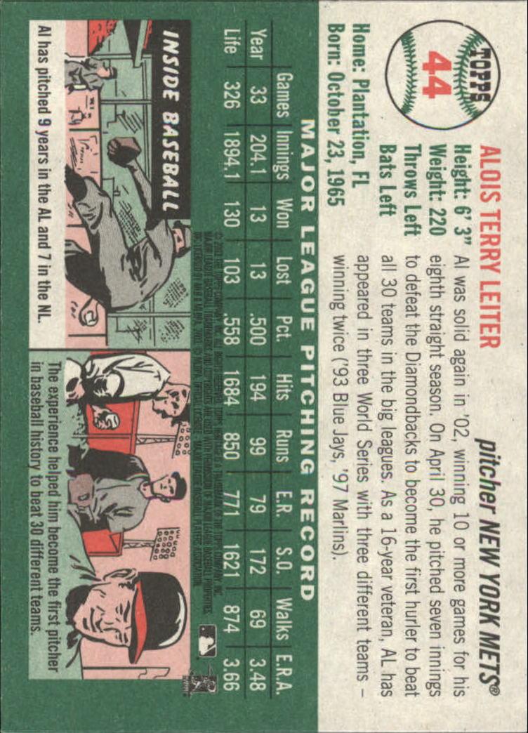 2003 Topps Heritage #44 Al Leiter back image