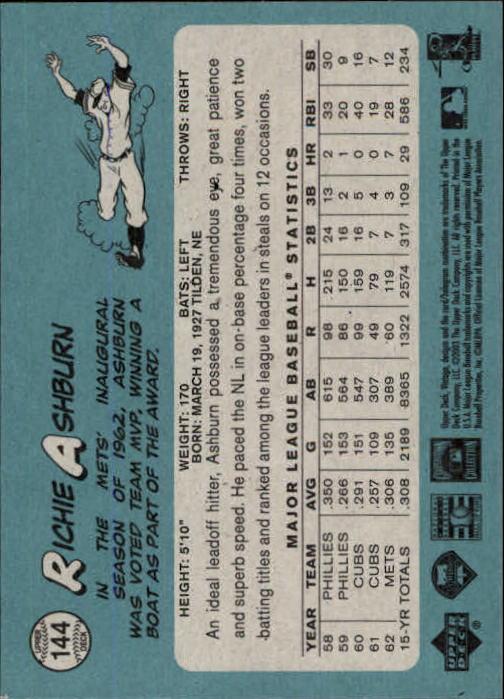2003 Upper Deck Vintage #144 Richie Ashburn back image