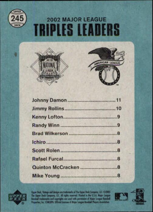 2003 Upper Deck Vintage #245 Damon/Rollins/Lofton back image