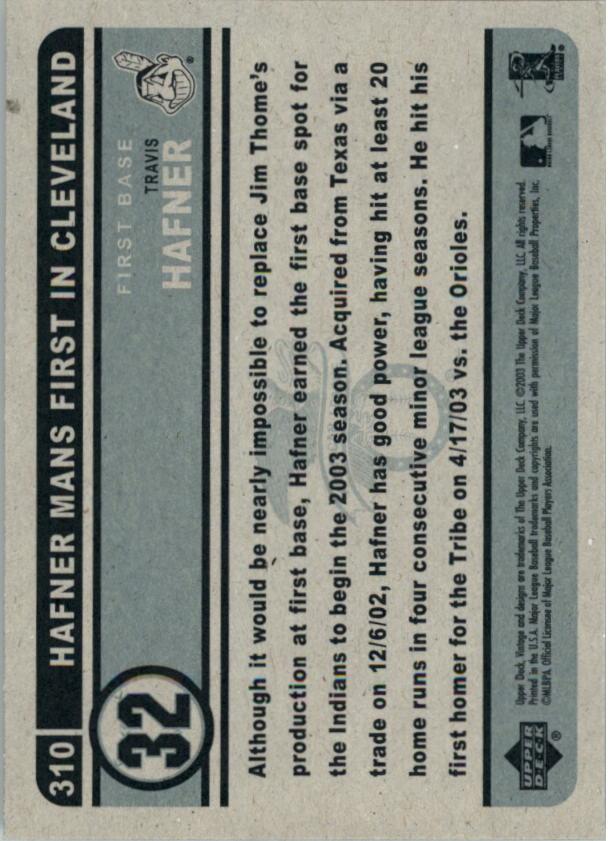 2003 Upper Deck Vintage #310 Travis Hafner back image