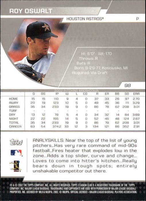 2003 Stadium Club #98 Roy Oswalt back image